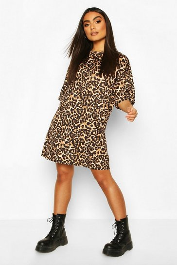 Brown Oversized Leopard T-Shirt Dress