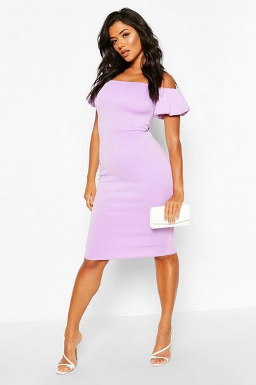 Lilac Off The Shoulder Puff Sleeve Midi Dress