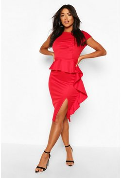 Red Peplum Frill Detail Midi Dress