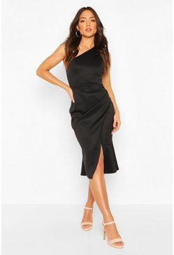 Black One Shoulder Pleat Detail Midi Dress