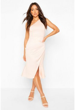 Blush One Shoulder Pleat Detail Midi Dress