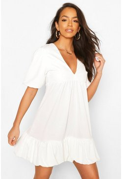 White Puff Ball Smock Dress