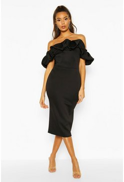 Black Puff Ruffle Bardot Midi Dress