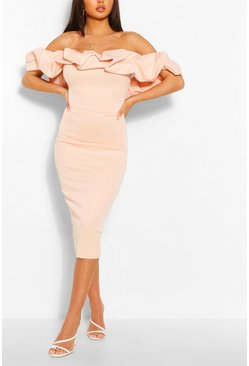 Blush Puff Ruffle Bardot Midi Dress