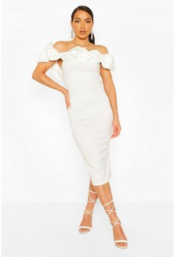 White Puff Ruffle Bardot Midi Dress