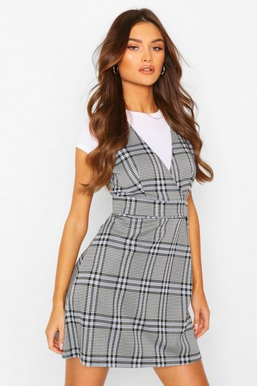 Black Check Double Buckle Pinny Dress
