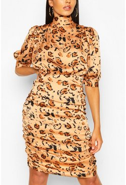 Apricot Animal Print Tie Neck Ruched Midi Dress