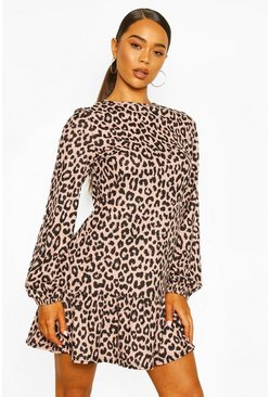 Blush Leopard Rib Frill Hem Smock Dress