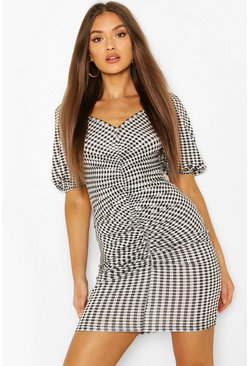 Black Gingham Ruched Bodycon Jersey Dress
