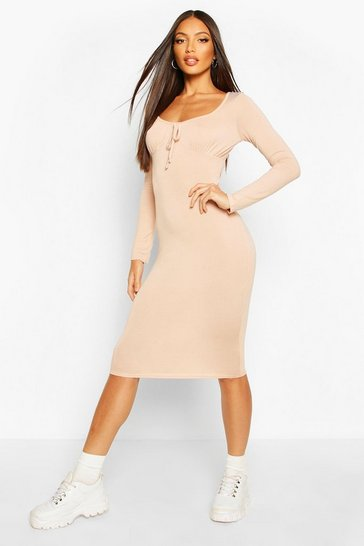 Stone Long Sleeve Ruched Bust Jersey Midi Dress