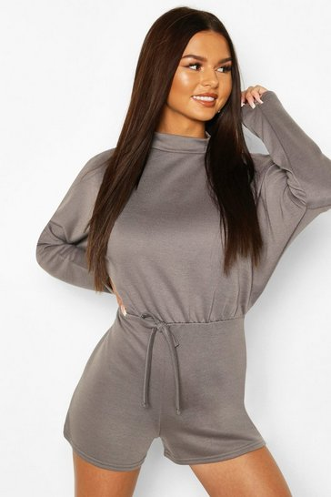 Grey flannel High Neck Slouchy Loopback Playsuit