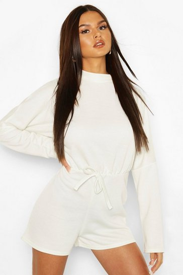 Lily white High Neck Slouchy Loopback Playsuit