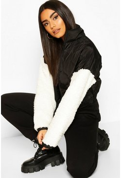 Black Teddy Faux Fur Sleeve Quilted Bomber