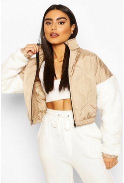 Teddy Faux Fur Sleeve Quilted Bomber, Stone