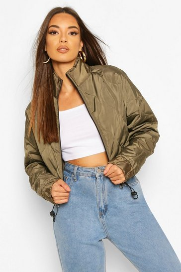 Khaki Quilted Detail Bomber Jacket