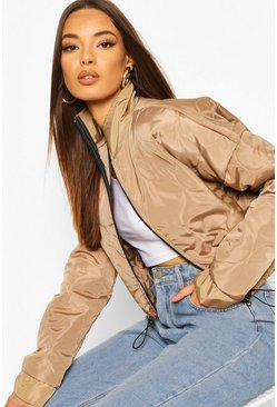 Stone Quilted Detail Bomber Jacket