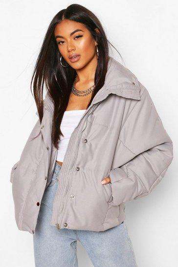 Grey Oversized Funnel Neck Puffer
