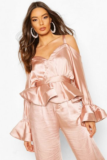 Blush Stetch Satin Cold Shoulder Peplum Top