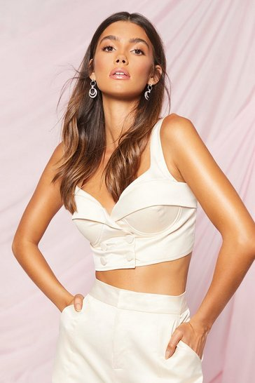 Cream Boohoo Occasion Cupped Double Breasted Bralet