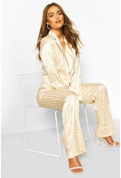 Champagne Boohoo Occasion Jacquard Polka Dot Trouser