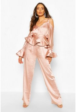 Blush Stretch Satin Wide Leg Pants