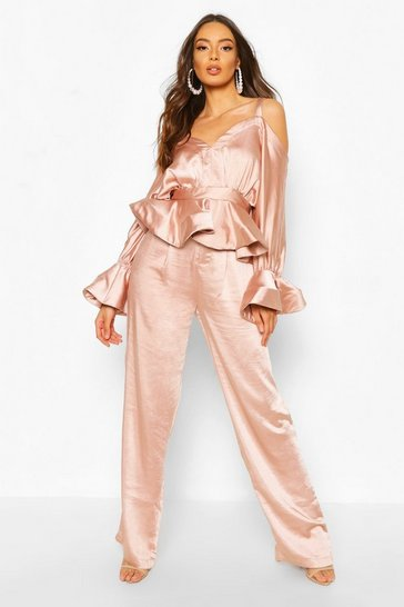 Blush Stretch Satin Wide Leg Trouser