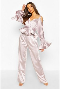 Mauve Stretch Satin Wide Leg Trouser