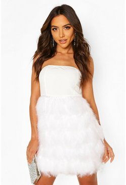 White Bandeau Feather Skirt Mini Dress