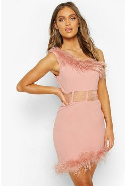 Soft pink One Shoulder Panelled Feather Trim Mini Dress