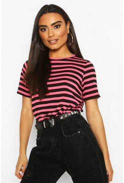 Hot pink Short Sleeve Striped T-Shirt