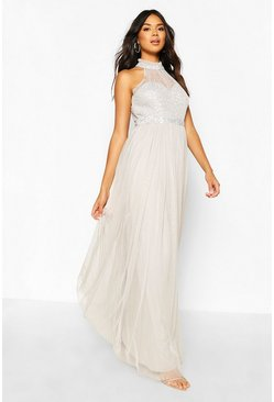 Grey Occasion Hand Embellished Mesh Halterneck Maxi Dress