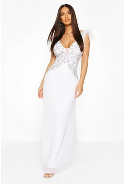 White Occasion Hand Embellished Feather Maxi Dress
