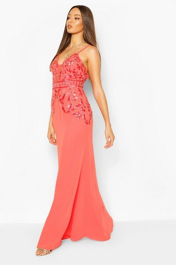 Coral Occasion Hand Embellished Mesh Insert Maxi Dress