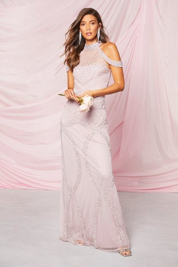 Lilac Occasion Hand Embellished Cold Shoulder Maxi Dress