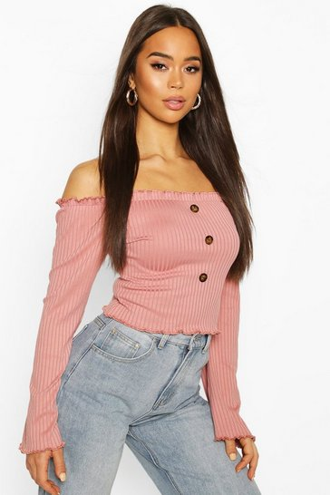 Rose Bardot Top With Fluted Edge & Bell Sleeves