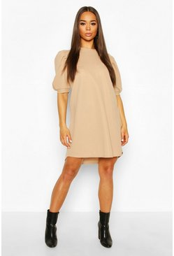 Camel Crew Neck Swing Dress With Puff Sleeves