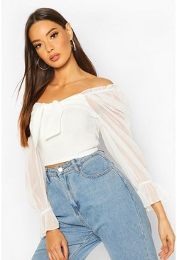 Tie Front Detail Top With Mesh Sleeves, Cream