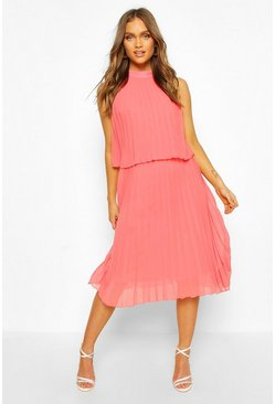 Apricot Occasion Pleated Double Layer Midi Dress