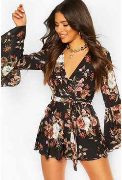 Floral Flared Sleeve Tie Waist Playsuit , Black