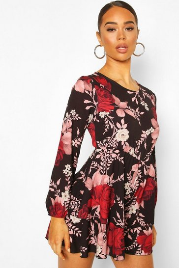 Black Floral Double Layer Woven Playsuit
