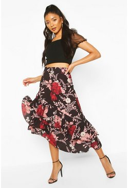 Black Floral Layered Midi Skirt