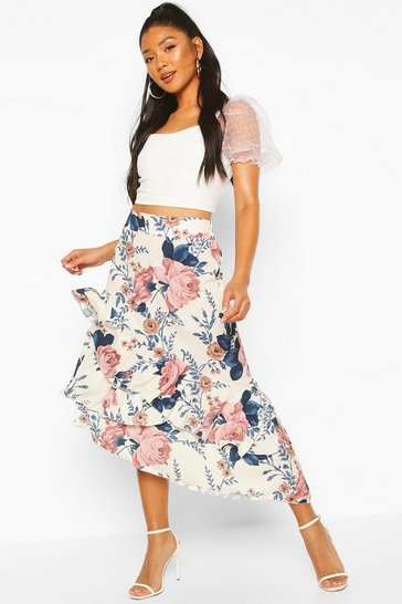 Blush Floral Layered Midi Skirt