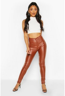 Tan High Waist Matte Leather Look Skinny Pants
