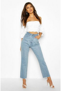 Light blue High Rise Straight Leg Jean