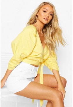 Yellow Woven Puff Sleeve Wrap Front Blouse