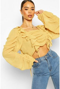 Mustard Chiffon Ruffle And Ruched Detail Blouse
