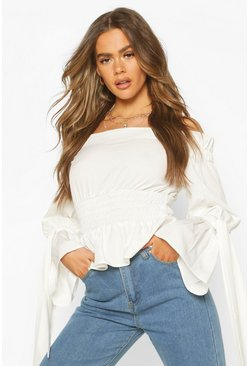White Woven Off The Shoulder Shirred Detail Top