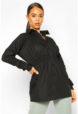 Black Cotton Shirring Detail Shirt