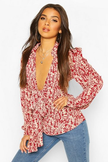 Berry Woven Printed Tie Front Blouse