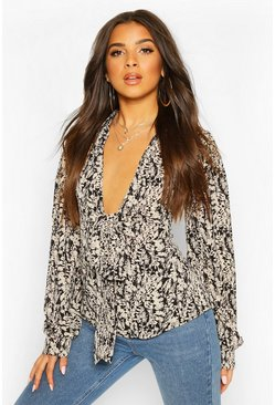 Black Woven Printed Tie Front Blouse